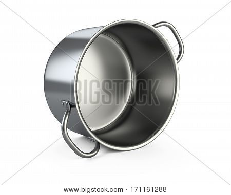 Stainless saucepan. Isolated over white background 3D illustration.