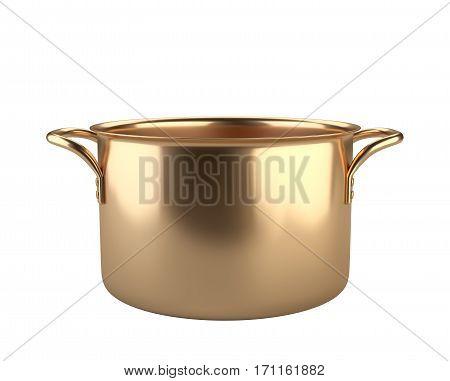 Golden saucepan. Isolated over white background 3D illustration.