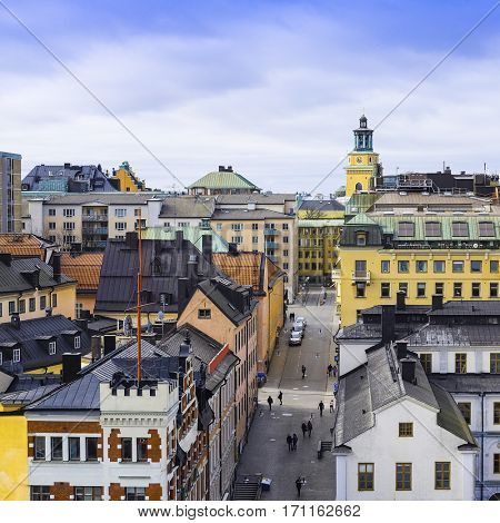 Stockholm, Sweden - March, 19, 2016: multystoried inhabited buildings in Stockholm, Sweden