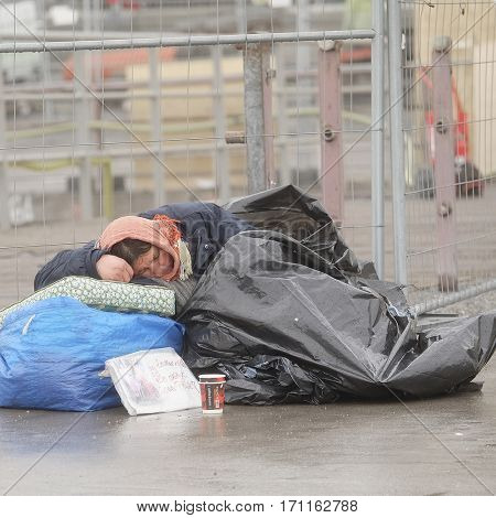 Stockholm, Sweden - April, 6, 2016: homeless woman in Stockholm, Sweden