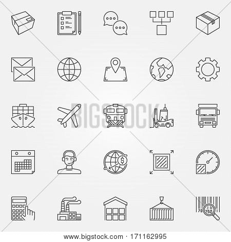 Logistics and delivery icons set. Vector shipping and wholesale concept signs in thin line style