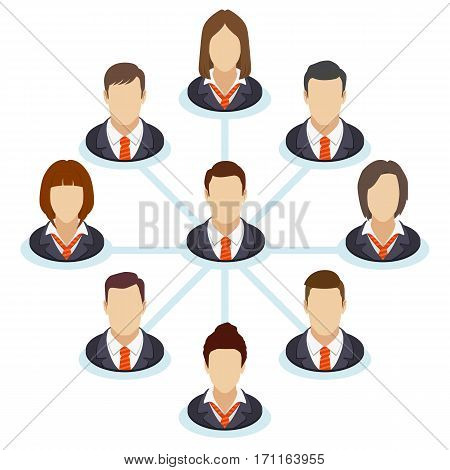 Teamwork flow chart. Corporate organization chart with business people icons. Spider business-diagram. Company structure in a flat style. Vector illustration.