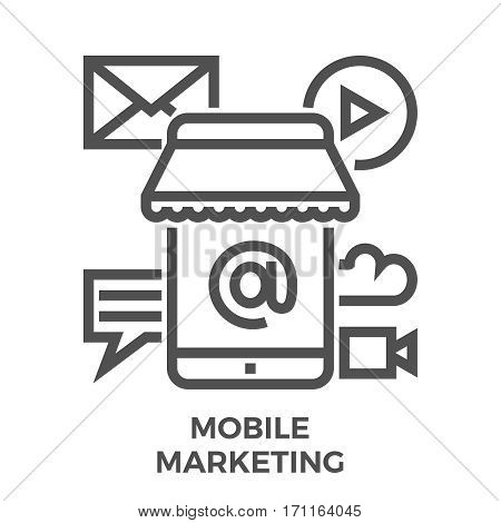 Mobile Marketing Thin Line Vector Icon Isolated on the White Background.