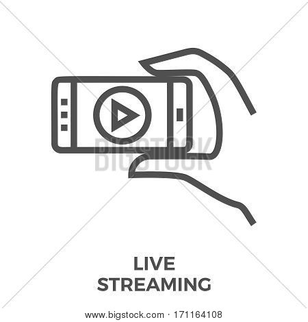 Live Streaming Thin Line Vector Icon Isolated on the White Background.
