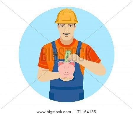 Builder puts banknote in a piggy bank. Save money in piggy bank. Portrait of builder in a flat style. Vector illustration.