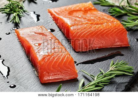 Salmon Fillet And Drops Of Olive Oil