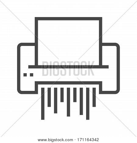 Paper Shredder Thin Line Vector Icon Isolated on the White Background.