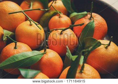Juicy tangerines in bowl, closeup