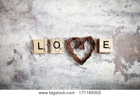 Love written with wooden letters