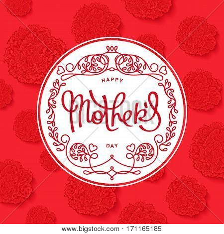Happy Mother's Day. Beautiful red carnations backdrop and trendy mono line emblem. Vector illustration