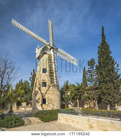 Montefiore windmill, Jerusalem. It is a famous museum and public domain place in Israel