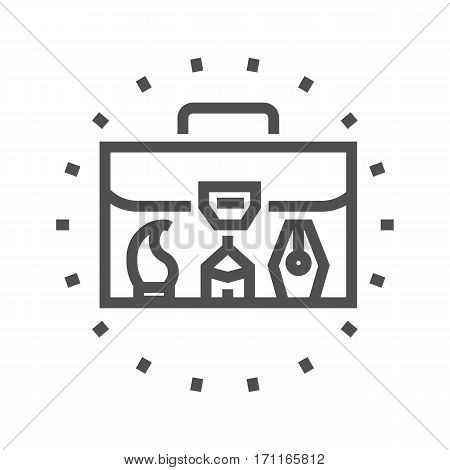 Portfolio Thin Line Vector Icon Isolated on the White Background.