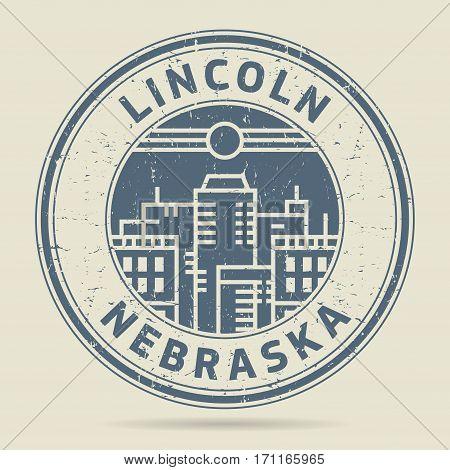 Grunge rubber stamp or label with text Lincoln Nebraska written inside vector illustration