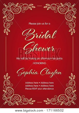 Bridal Shower invitation in retro style with decorative design elements. Vector illustration