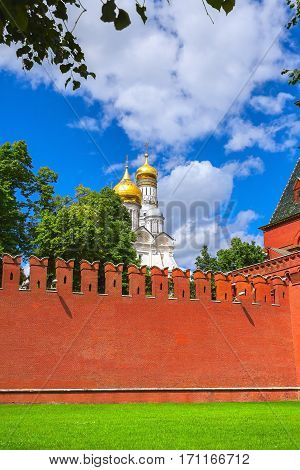 The Annunciation Cathedral and Archangel Cathedral in the Moscow Kremlin Russia