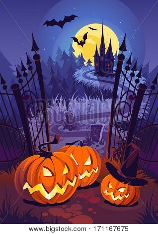 Halloween pumpkins and dark castle on blue Moon background