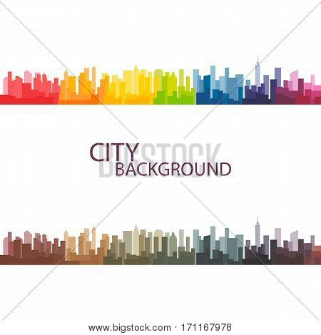 Vector illustration of colorful panorama city background