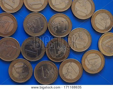 1 Euro Coins, European Union Over Blue