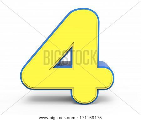 Cute Yellow Number 4