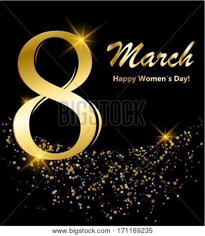8 march postcard. Shiny glitter lettering. Digit eight made of gold on black background. Glowing International women`s day banner or poster or card. Vector illustration