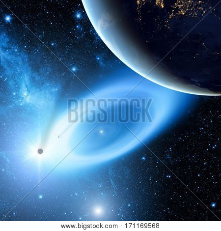 Planet in the Milky Way with black-hole and stellar system in the background.