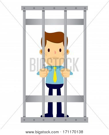 Vector stock of a businessman locked behind prison bars