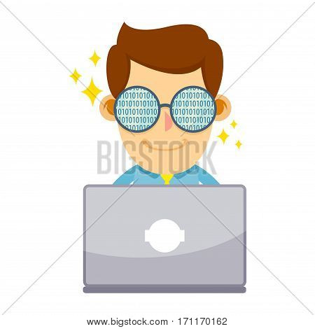 Vector stock of businessman wearing glasses writing codes with laptop