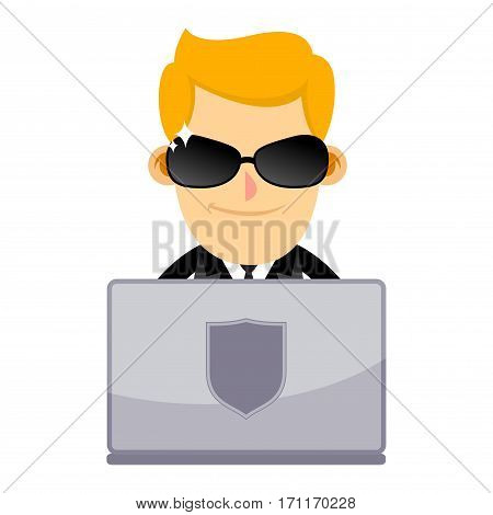Vector stock of man in black suit working with laptop internet security concept