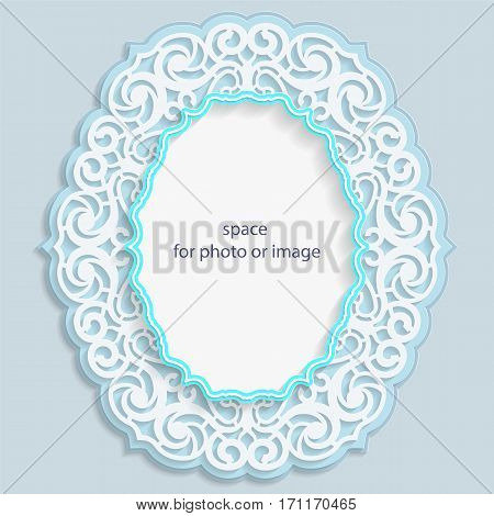 3D oval frame for a photo or picture vignette with ornaments lace border bas-relief ornament openwork pattern template greetings vector