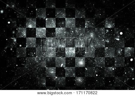 Abstract Geometric Texture With Silver Sparkles On Black Background. Fantasy Fractal Design. Digital