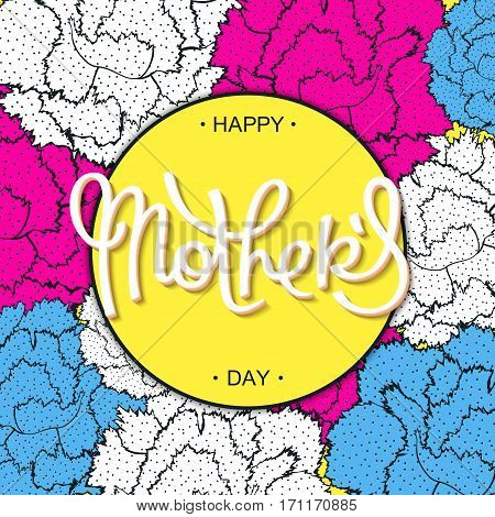 Happy Mother's Day creative carnations backdrop in 80-90s style. Vector cartoon design