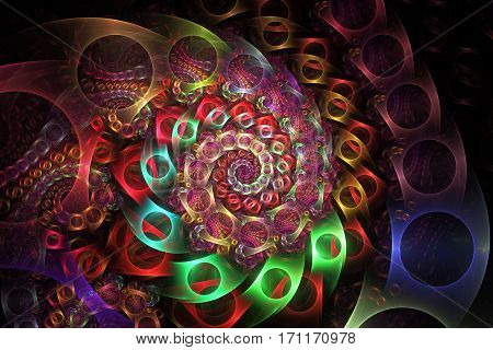 Abstract Intricate Spiral Texture In Red, Blue, Green And Golden Colors. Digital Fractal Art. 3D Ren