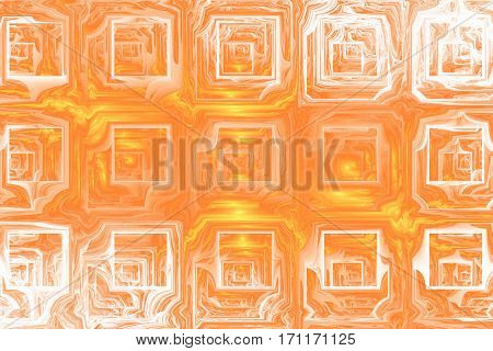 Abstract Grunge Texture With Distorted Shapes. Fractal Background In Golden Colors. Digital Art. 3D