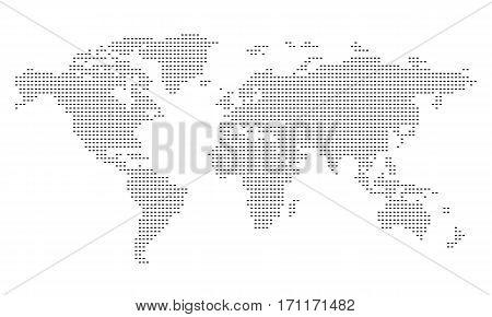 Pictogram - World map, Line, Stroke, Dash large - Object Icon Symbol