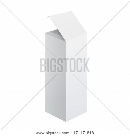 Cool Realistic White Package Cardboard Box Opened. For Software electronic device and other products. Vector illustration