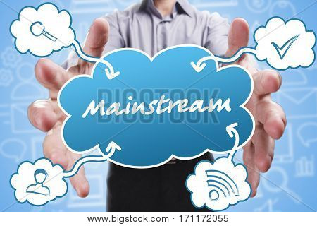 Business, Technology, Internet And Marketing. Young Businessman Thinking About: Mainstream