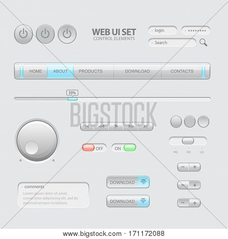 Light Web UI Elements. Buttons Switches bars power buttons sliders. Vector illustration