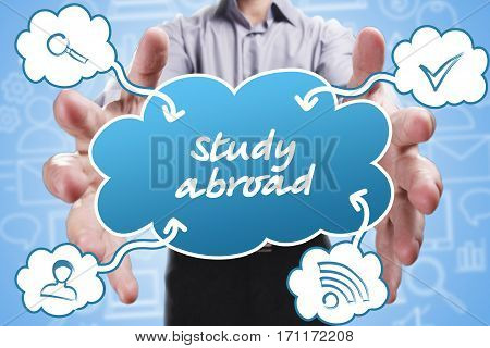 Business, Technology, Internet And Marketing. Young Businessman Thinking About: Study Abroad