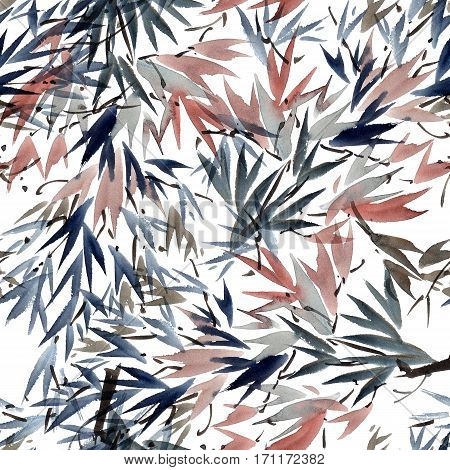Watercolor and ink illustration of tree foliage in style sumi-e u-sin. Oriental traditional painting. Seamless pattern.