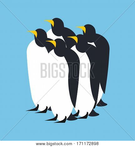 Penguin Flock. Animal North Pole. Bird Antarctica And Arctic