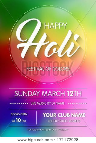 Happy Holi spring festival of colors. Poster, flyer or invitation template. Vector Illustration