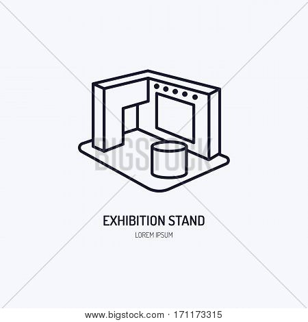 Exhibition banner stand vector line icon. Advertising sign.