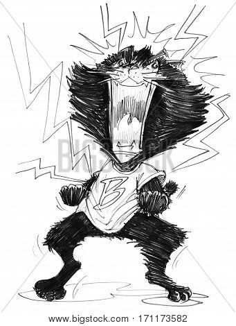 Cat mad cartoon to agape acting has lightning spark around him Character pencil sketch design black and white.