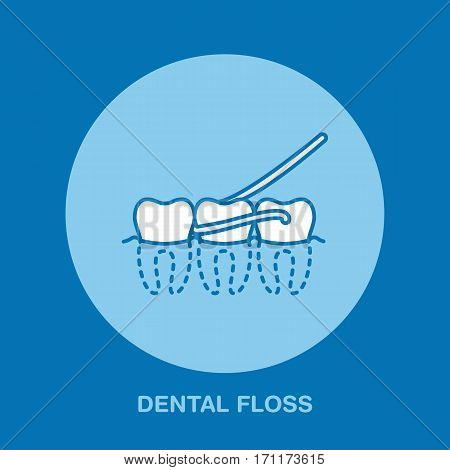 Tooth hygiene. Dentist, orthodontics line icon. Dental floss sign, medical elements. Health care thin linear symbol for dentistry clinic.
