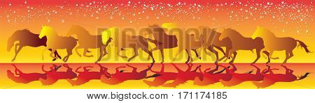 Vector illustration yellow and red background with horses running gallop
