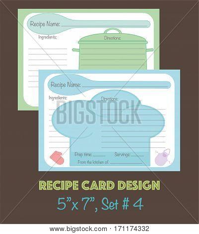 Recipe cards design, decorative recipe cards set