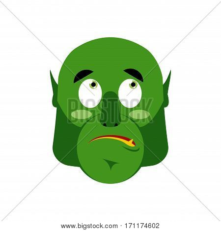 Ogre Surprised Emoji. Goblin Astonished Emotion Isolated. Green Monster Face
