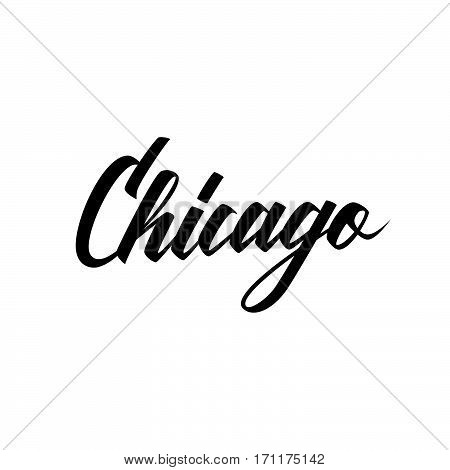 Handwritten city name Chicago. Calligraphic element for your design. Vector illustration.