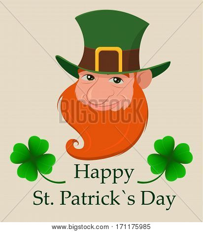 Saint Patrick's Day greeting card. Head of cartoon happy leprechaun. Character with green hat red beard and four leaf clover. Vector modern illustration on