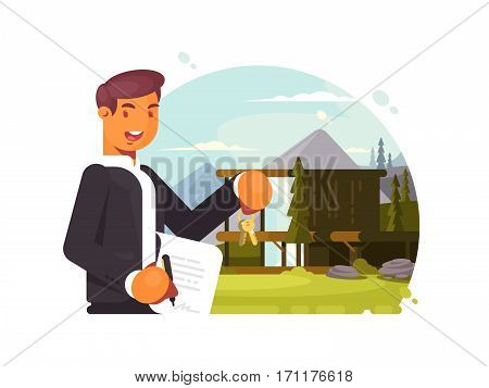 Successful realtor with keys and contract sells property. Vector illustration